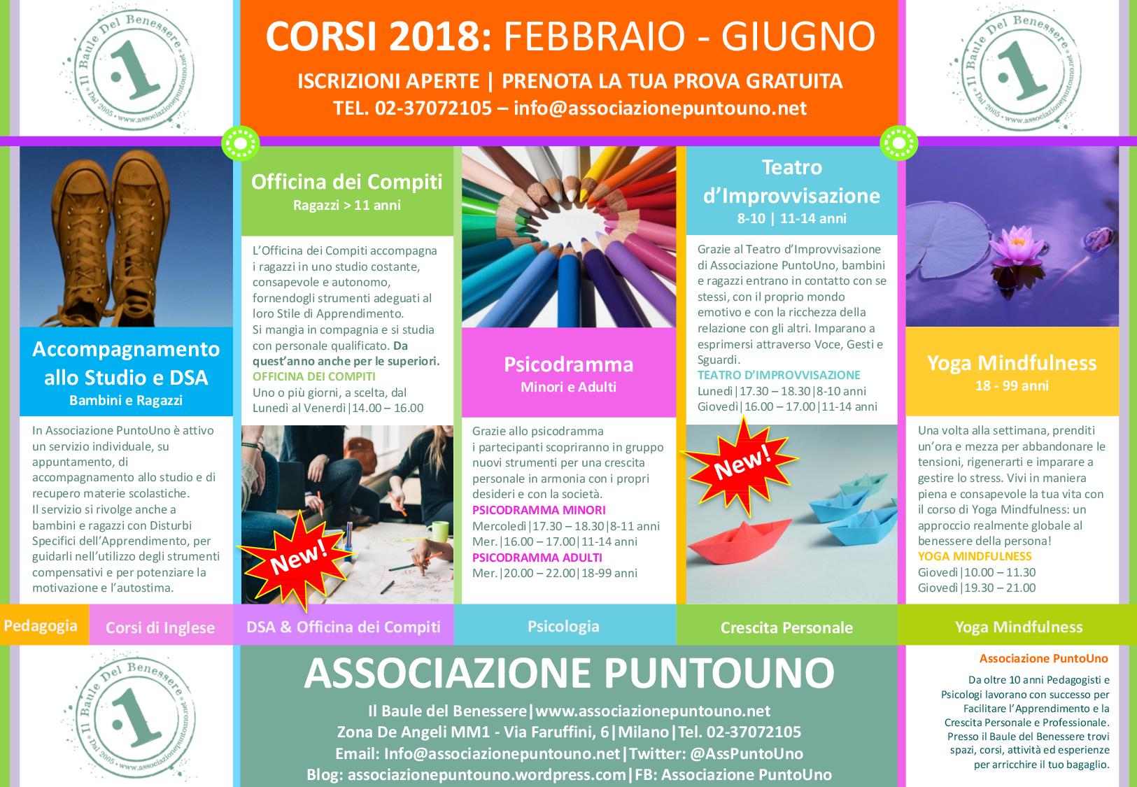 Associazione PuntoUno Corsi PuntoUno Secondo Quadrimestre 2017 2018 PAG2
