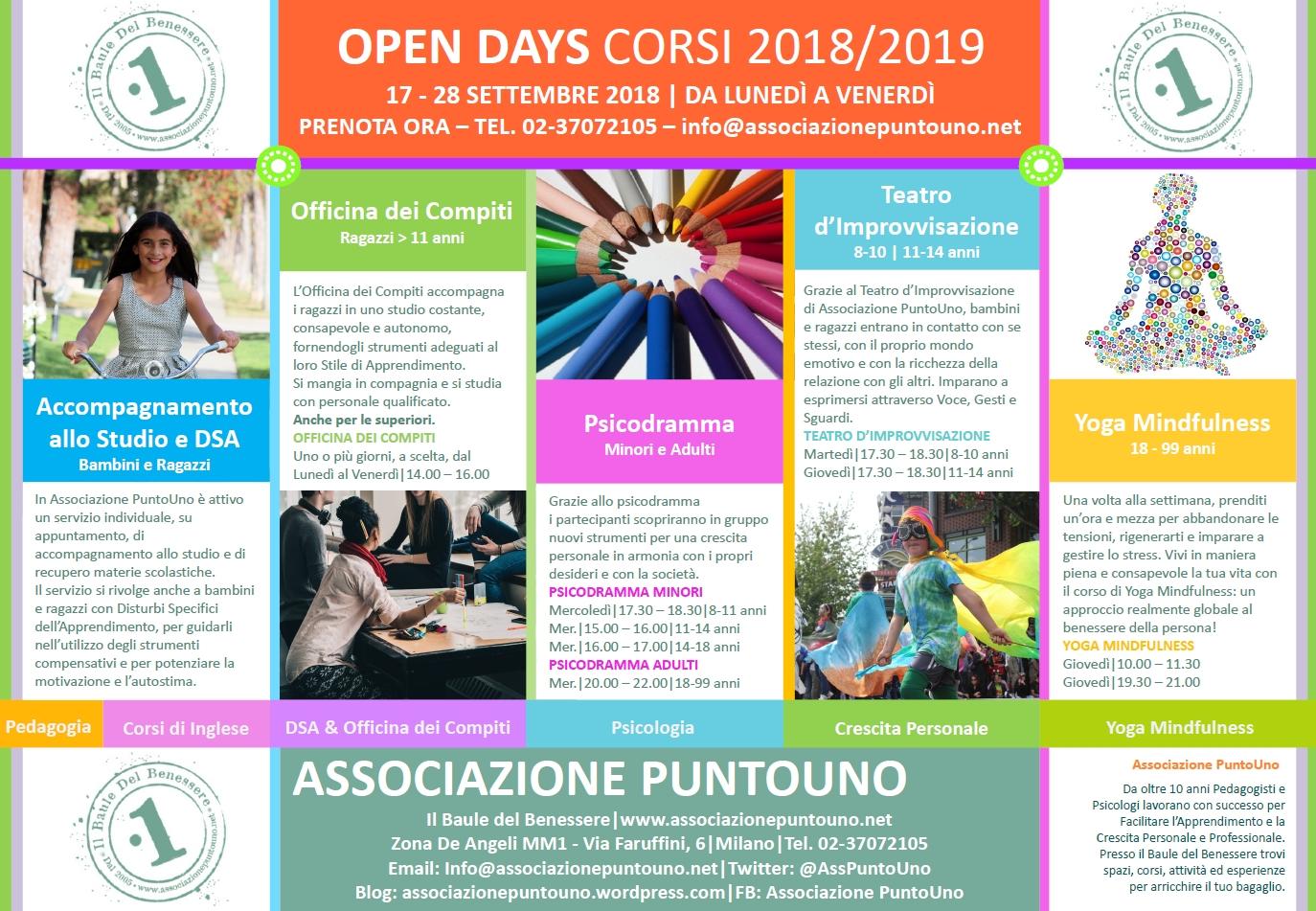 PDF Associazione PuntoUno Open Days Corsi Calendar 2018 2019 PAG2