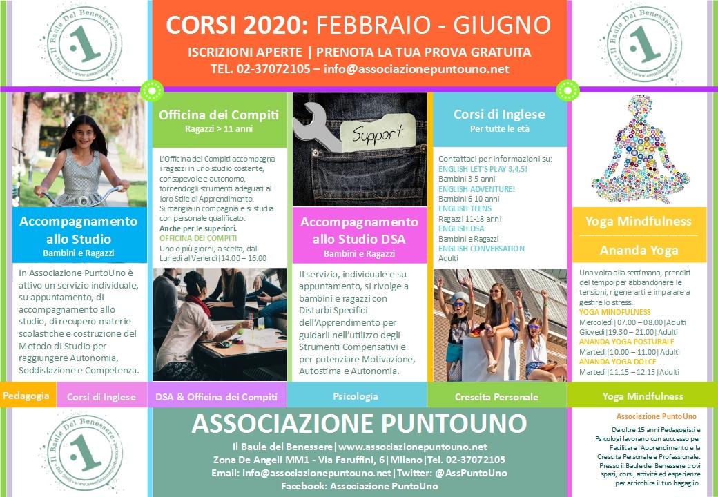 Associazione PuntoUno Calendario Corsi FEB-GIU 2020