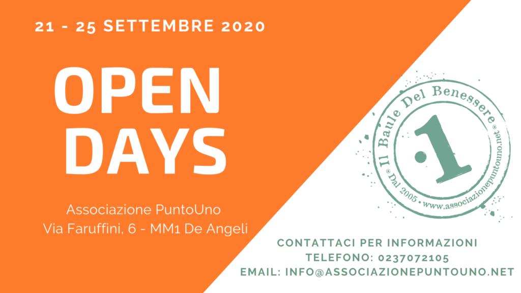Open Days 21 - 25 settembre 2020 Associazione PuntoUno