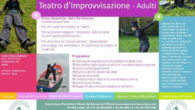Domani 2 Ottobre – Prova gratuita Teatro d'Improvvisazione per Adulti con Laura Ferrari